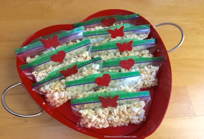 Bolsitas de palomitas de maíz para San Valentín