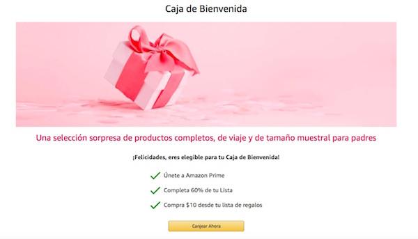 caja productos bebe gratis amazon